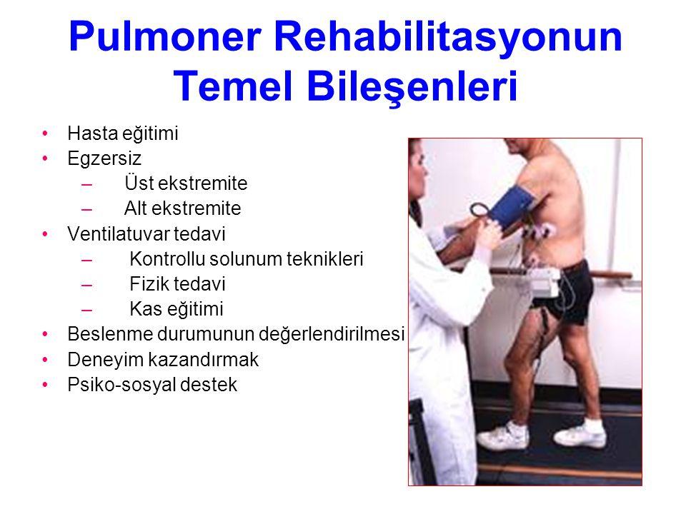 Pulmoner Rehabilitasyonun Temel Bileşenleri Hasta eğitimi Egzersiz – Üst ekstremite – Alt ekstremite Ventilatuvar tedavi – Kontrollu solunum teknikler