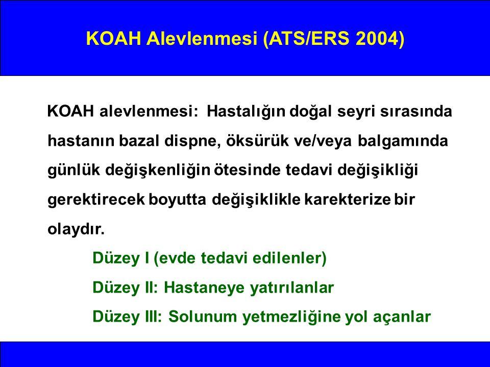 KOAH Alevlenmesi (ATS/ERS 2004) KOAH alevlenmesi: Hastalığın doğal seyri sırasında hastanın bazal dispne, öksürük ve/veya balgamında günlük değişkenli