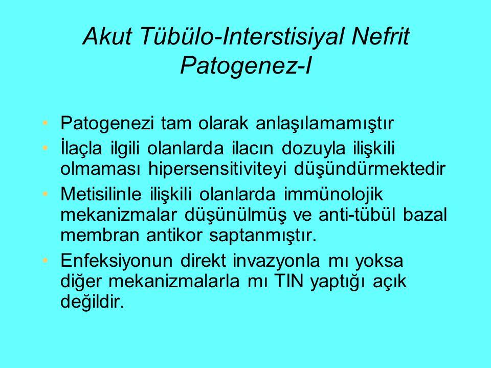Akut Tübülo-Interstisiyal Nefrit Patogenez-I Patogenezi tam olarak anlaşılamamıştır İlaçla ilgili olanlarda ilacın dozuyla ilişkili olmaması hipersens