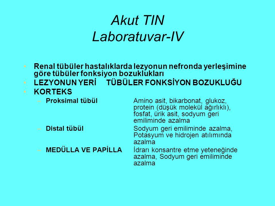 Akut TIN Laboratuvar-IV Renal tübüler hastalıklarda lezyonun nefronda yerleşimine göre tübüler fonksiyon bozuklukları LEZYONUN YERİTÜBÜLER FONKSİYON B