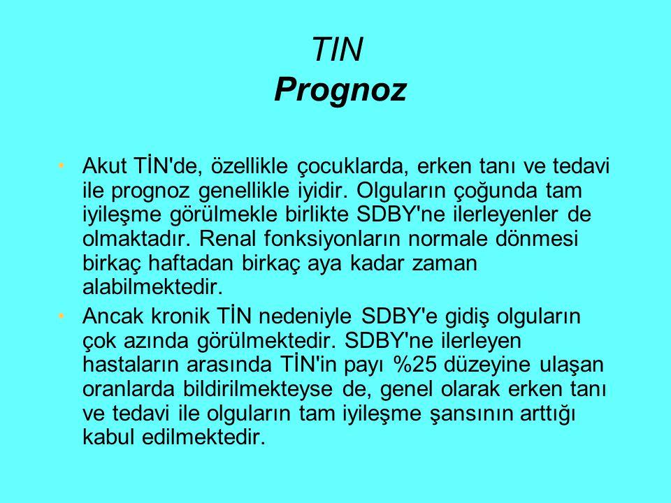 TIN Prognoz Akut TİN'de, özellikle çocuklarda, erken tanı ve tedavi ile prognoz genellikle iyidir. Olguların çoğunda tam iyileşme görülmekle birlikte
