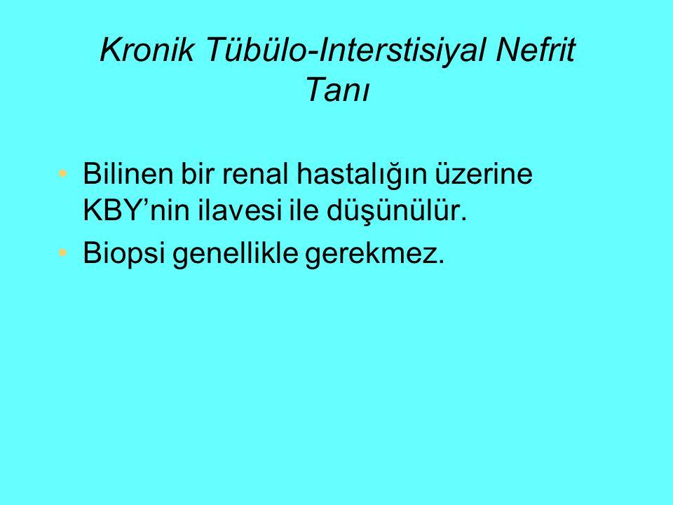 Kronik Tübülo-Interstisiyal Nefrit Tanı Bilinen bir renal hastalığın üzerine KBY'nin ilavesi ile düşünülür. Biopsi genellikle gerekmez.