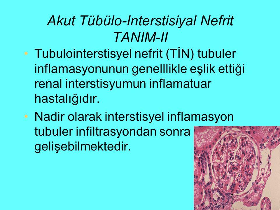 TIN TANI-I Histopatolojik bulgu –interstisiyumda ödem ve –iltihabi hücre (mononükleer polimorfonükleer) infiltrasyonudur.