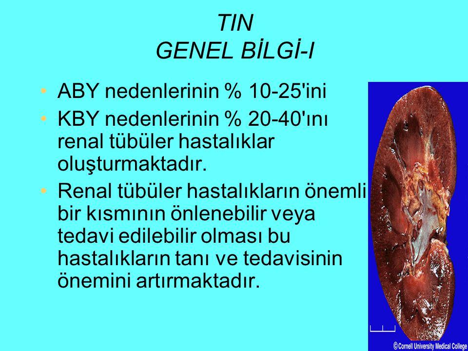 TIN Etyoloji-III Akut TİN etiyolojisinde: –İdiyopatik –Enfeksiyon (direkt etki ve aktif etki) ve –immünolojik kökenli (ilaç hipersensitivitesi, glomerulonefritler ve rejeksiyon) nedenler sorumlu tutulurken, Kronik TİN etiyolojisinde: –idyopatik, –toksik (ilaç-analjezik), –Enfeksiyon (kronik, yineleyen enfeksiyon, reaktif) –Metabolik, –İmmunolojik, –Herediter, –Radyasyona bağlı ve –Ürolojik (obstrüksiyon, reflü) nedenler sorumlu olabilmektedir.
