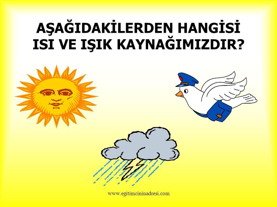AŞAĞIDAKİLERDEN HANGİSİ ISI VE IŞIK KAYNAĞIMIZDIR? www.egitimcininadresi.com