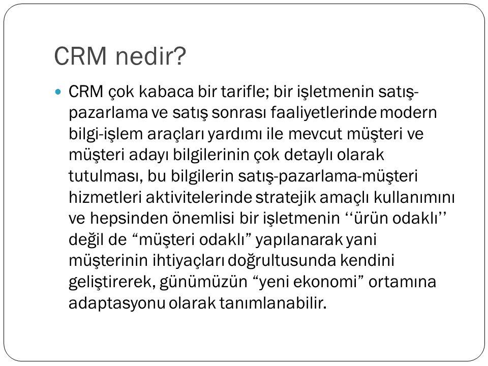 CRM nedir? CRM çok kabaca bir tarifle; bir işletmenin satış- pazarlama ve satış sonrası faaliyetlerinde modern bilgi-işlem araçları yardımı ile mevcut