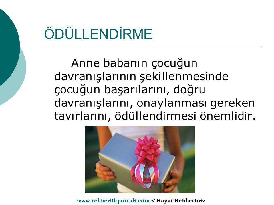 www.rehberlikportali.comwww.rehberlikportali.com © Hayat Rehberiniz ÖDÜLLENDİRME Anne babanın çocuğun davranışlarının şekillenmesinde çocuğun başarıla