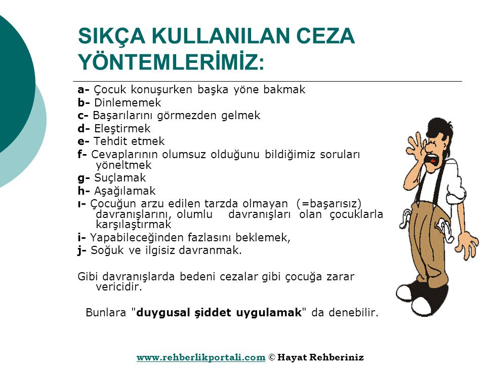 www.rehberlikportali.comwww.rehberlikportali.com © Hayat Rehberiniz SIKÇA KULLANILAN CEZA YÖNTEMLERİMİZ: a- Çocuk konuşurken başka yöne bakmak b- Dinl