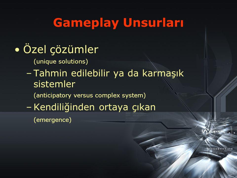 Özel Çözümler (unique solutions) Oyuncular aynı sonuca (çözüme) farklı taktikler kullanarak gidebilirler.