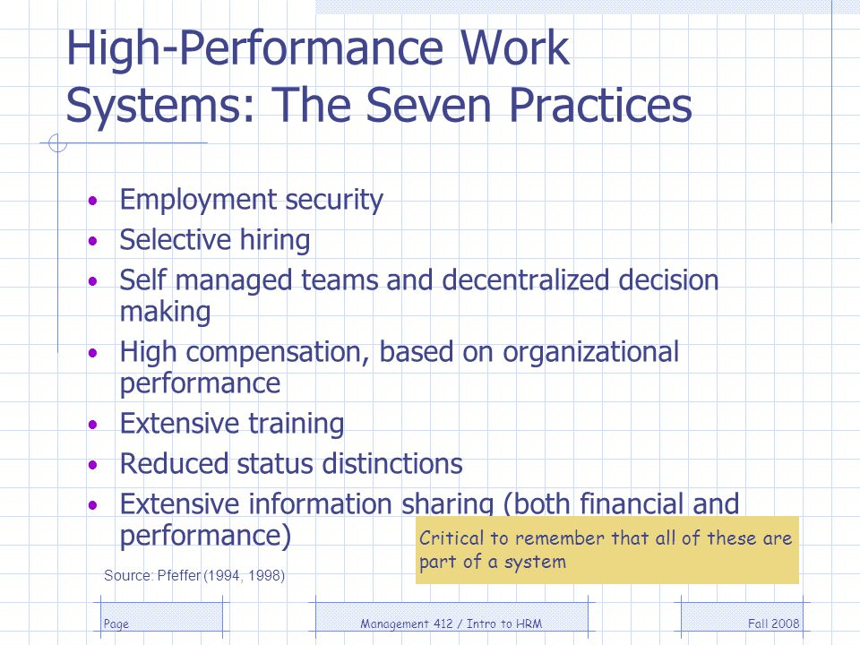 Fall 2008Management 412 / Intro to HRMPage High-Performance Work Systems: The Seven Practices Employment security Selective hiring Self managed teams