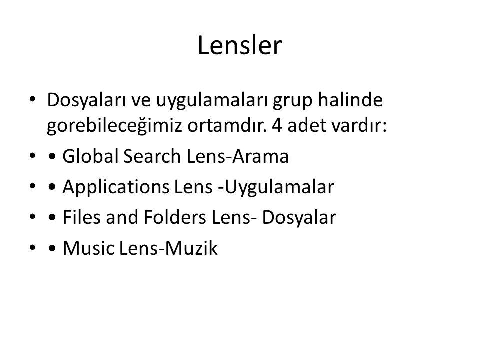 Lensler Dosyaları ve uygulamaları grup halinde gorebileceğimiz ortamdır. 4 adet vardır: Global Search Lens-Arama Applications Lens -Uygulamalar Files