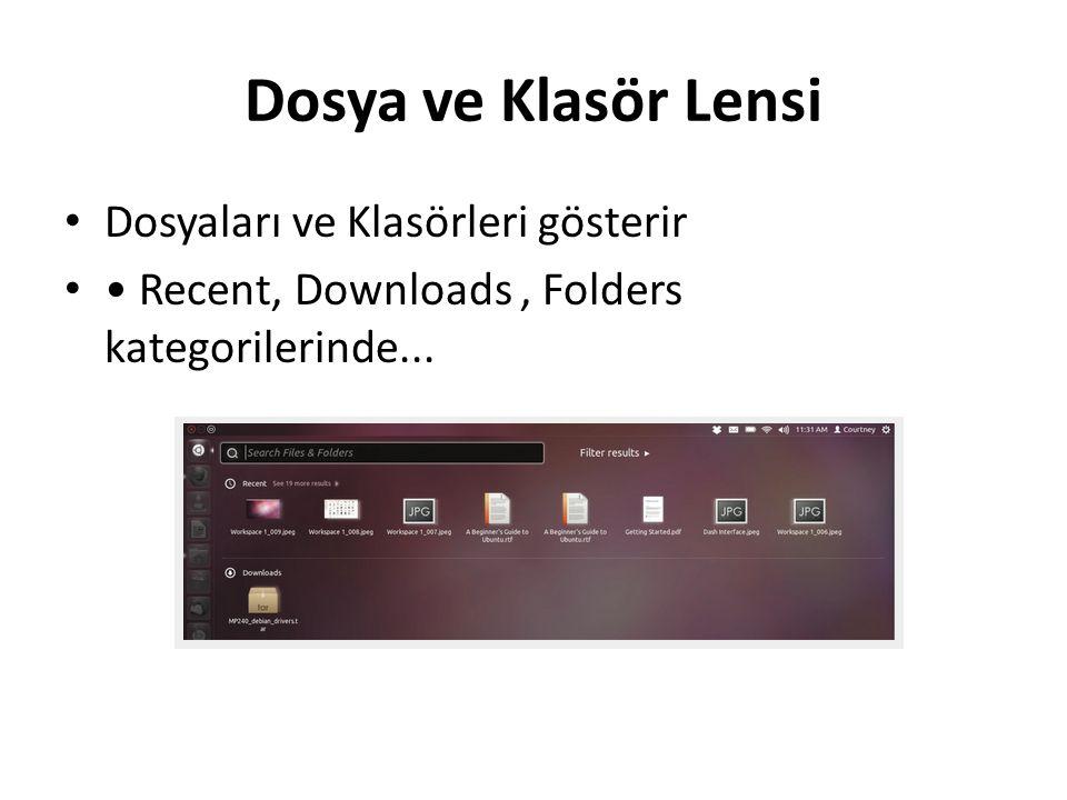 Dosya ve Klasör Lensi Dosyaları ve Klasörleri gösterir Recent, Downloads, Folders kategorilerinde...