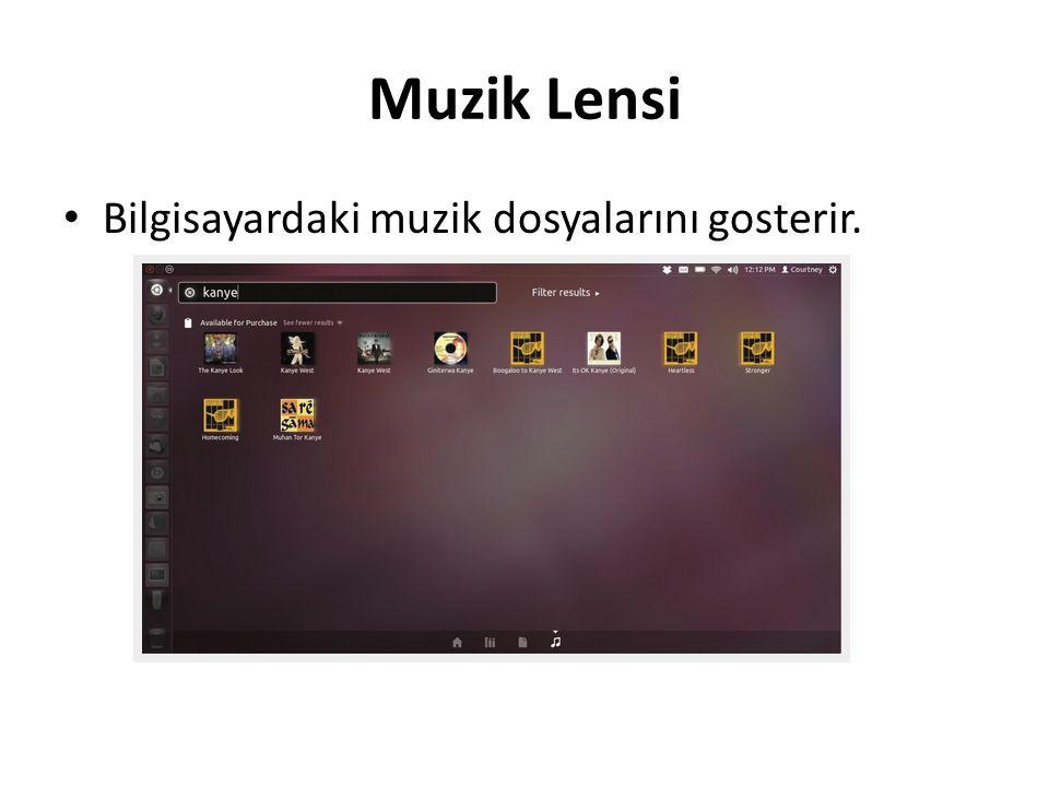 Muzik Lensi Bilgisayardaki muzik dosyalarını gosterir.