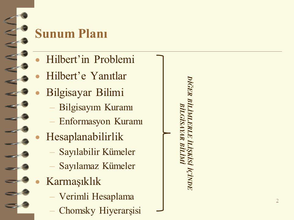 Sunum Planı  Hilbert'in Problemi  Hilbert'e Yanıtlar  Bilgisayar Bilimi –Bilgisayım Kuramı –Enformasyon Kuramı  Hesaplanabilirlik –Sayılabilir Küm