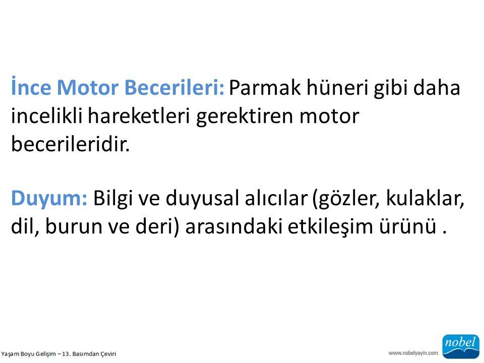 İnce Motor Becerileri: Parmak hüneri gibi daha incelikli hareketleri gerektiren motor becerileridir. Duyum: Bilgi ve duyusal alıcılar (gözler, kulakla