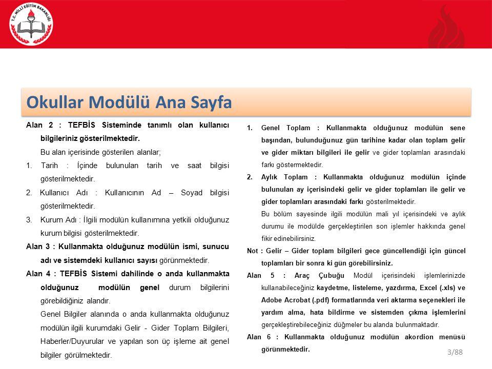3/88 Okullar Modülü Ana Sayfa Alan 2 : TEFBİS Sisteminde tanımlı olan kullanıcı bilgileriniz gösterilmektedir. Bu alan içerisinde gösterilen alanlar;