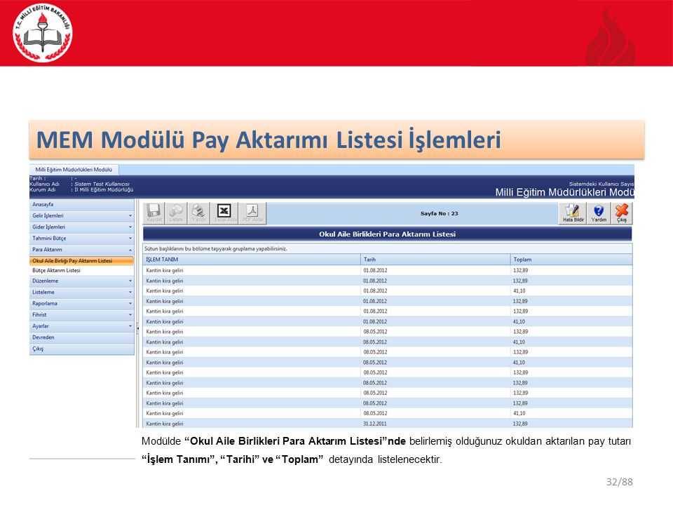 32/88 MEM Modülü Pay Aktarımı Listesi İşlemleri Modülde Okul Aile Birlikleri Para Aktarım Listesi nde belirlemiş olduğunuz okuldan aktarılan pay tutarı İşlem Tanımı , Tarihi ve Toplam detayında listelenecektir.