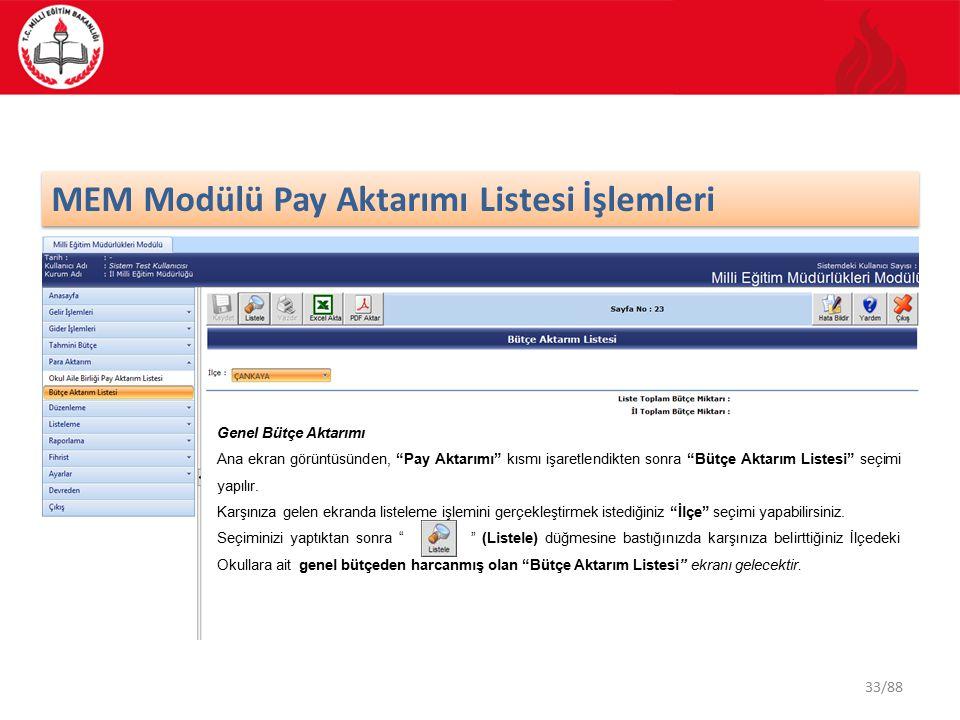 33/88 MEM Modülü Pay Aktarımı Listesi İşlemleri Genel Bütçe Aktarımı Ana ekran görüntüsünden, Pay Aktarımı kısmı işaretlendikten sonra Bütçe Aktarım Listesi seçimi yapılır.