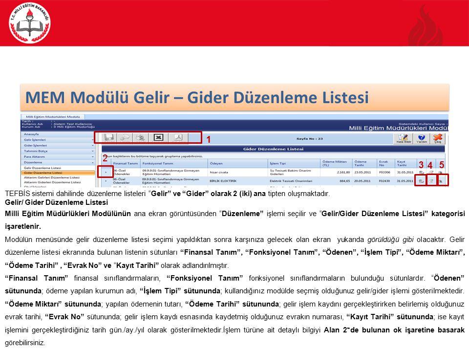 37/88 MEM Modülü Gelir – Gider Düzenleme Listesi TEFBİS sistemi dahilinde düzenleme listeleri Gelir ve Gider olarak 2 (iki) ana tipten oluşmaktadır.