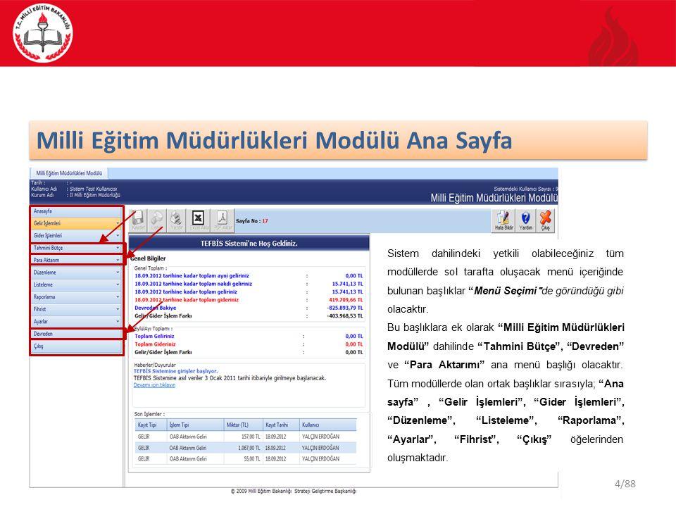 4/88 Milli Eğitim Müdürlükleri Modülü Ana Sayfa Sistem dahilindeki yetkili olabileceğiniz tüm modüllerde sol tarafta oluşacak menü içeriğinde bulunan