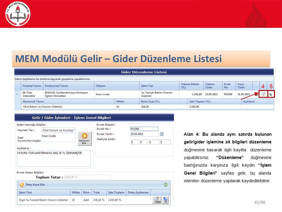 40/88 MEM Modülü Gelir – Gider Düzenleme Listesi 4 Alan 4: Bu alanda aynı satırda bulunan gelir/gider işlemine ait bilgileri düzenleme düğmesine basarak ilgili kayıtta düzenleme yapabilirsiniz.