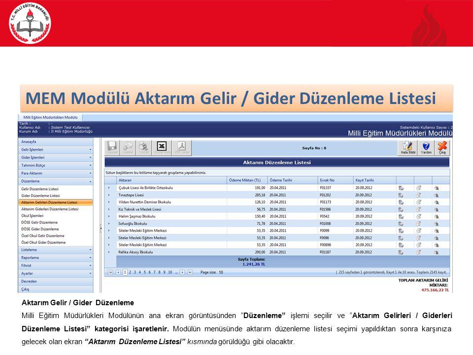 42/88 MEM Modülü Aktarım Gelir / Gider Düzenleme Listesi Aktarım Gelir / Gider Düzenleme Milli Eğitim Müdürlükleri Modülünün ana ekran görüntüsünden Düzenleme işlemi seçilir ve Aktarım Gelirleri / Giderleri Düzenleme Listesi kategorisi işaretlenir.