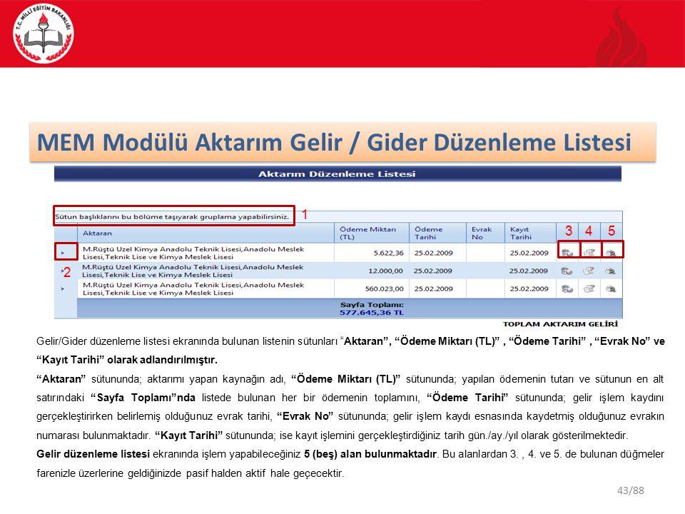 43/88 MEM Modülü Aktarım Gelir / Gider Düzenleme Listesi 345 1 2 Gelir/Gider düzenleme listesi ekranında bulunan listenin sütunları Aktaran , Ödeme Miktarı (TL) , Ödeme Tarihi , Evrak No ve Kayıt Tarihi olarak adlandırılmıştır.