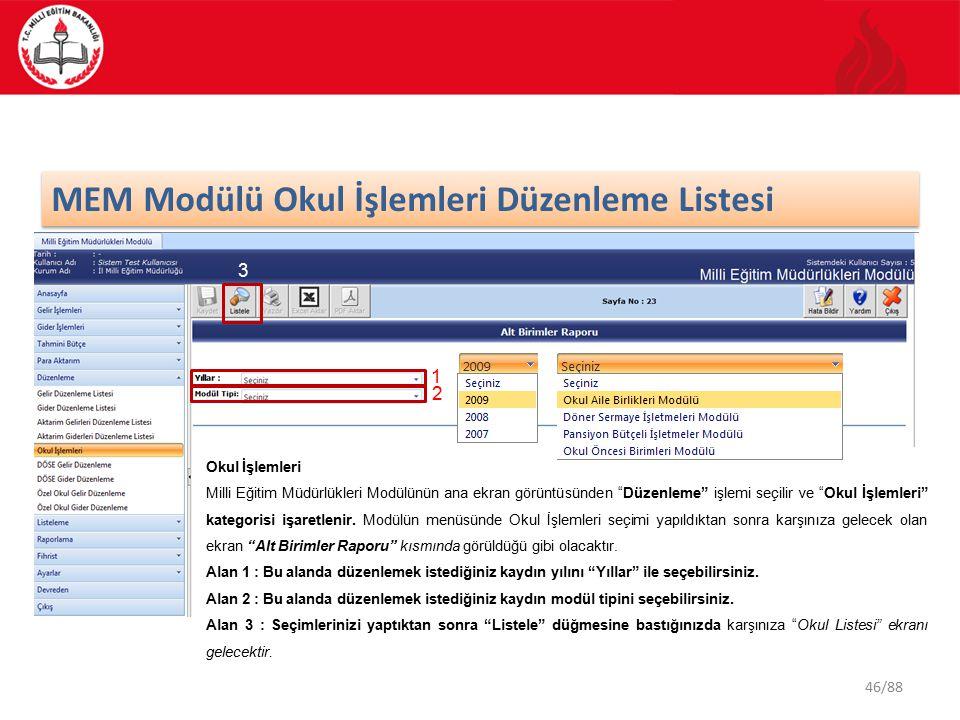 46/88 MEM Modülü Okul İşlemleri Düzenleme Listesi Okul İşlemleri Milli Eğitim Müdürlükleri Modülünün ana ekran görüntüsünden Düzenleme işlemi seçilir ve Okul İşlemleri kategorisi işaretlenir.