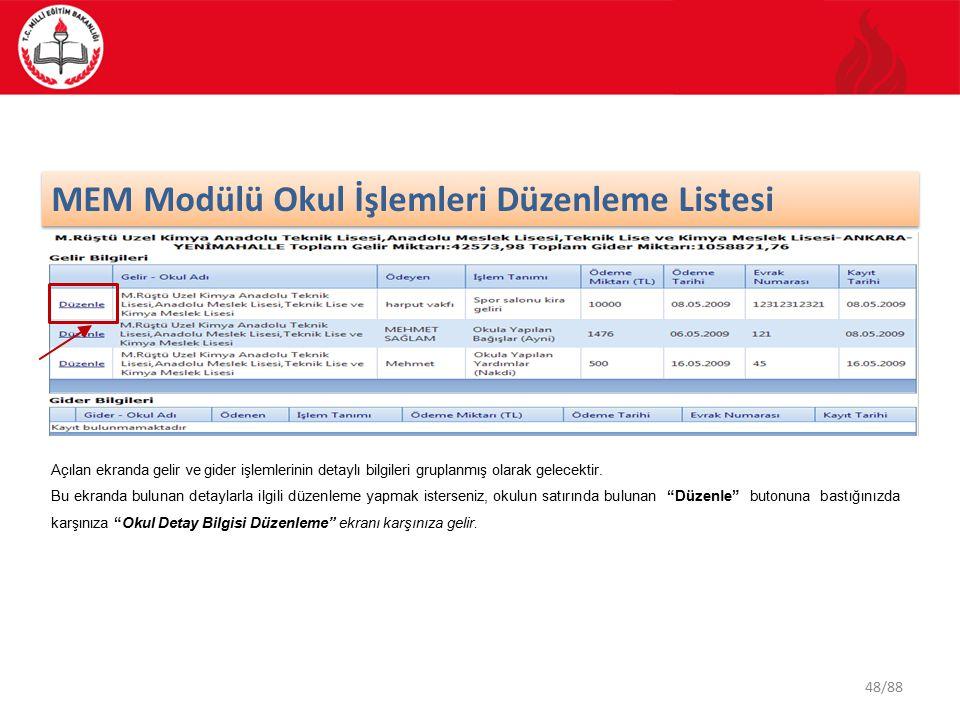 48/88 MEM Modülü Okul İşlemleri Düzenleme Listesi Açılan ekranda gelir ve gider işlemlerinin detaylı bilgileri gruplanmış olarak gelecektir.