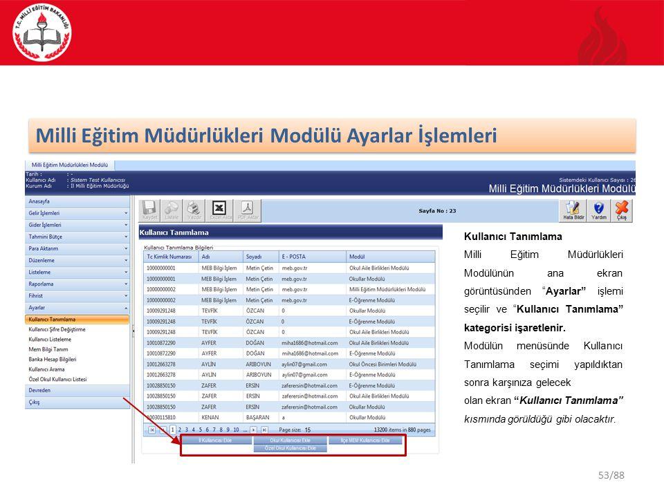 53/88 Milli Eğitim Müdürlükleri Modülü Ayarlar İşlemleri Kullanıcı Tanımlama Milli Eğitim Müdürlükleri Modülünün ana ekran görüntüsünden Ayarlar işlemi seçilir ve Kullanıcı Tanımlama kategorisi işaretlenir.
