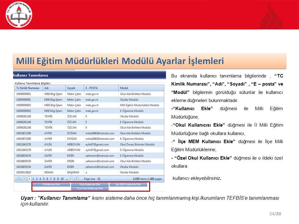 54/88 Milli Eğitim Müdürlükleri Modülü Ayarlar İşlemleri Bu ekranda kullanıcı tanımlama bilgilerinde, TC Kimlik Numarası , Adı , Soyadı , E – posta ve Modül bilgilerinin görüldüğü sütunlar ile kullanıcı ekleme düğmeleri bulunmaktadır.