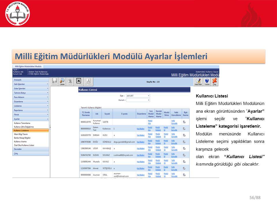 56/88 Milli Eğitim Müdürlükleri Modülü Ayarlar İşlemleri Kullanıcı Listesi Milli Eğitim Müdürlükleri Modülünün ana ekran görüntüsünden Ayarlar işlemi seçilir ve Kullanıcı Listeleme kategorisi işaretlenir.