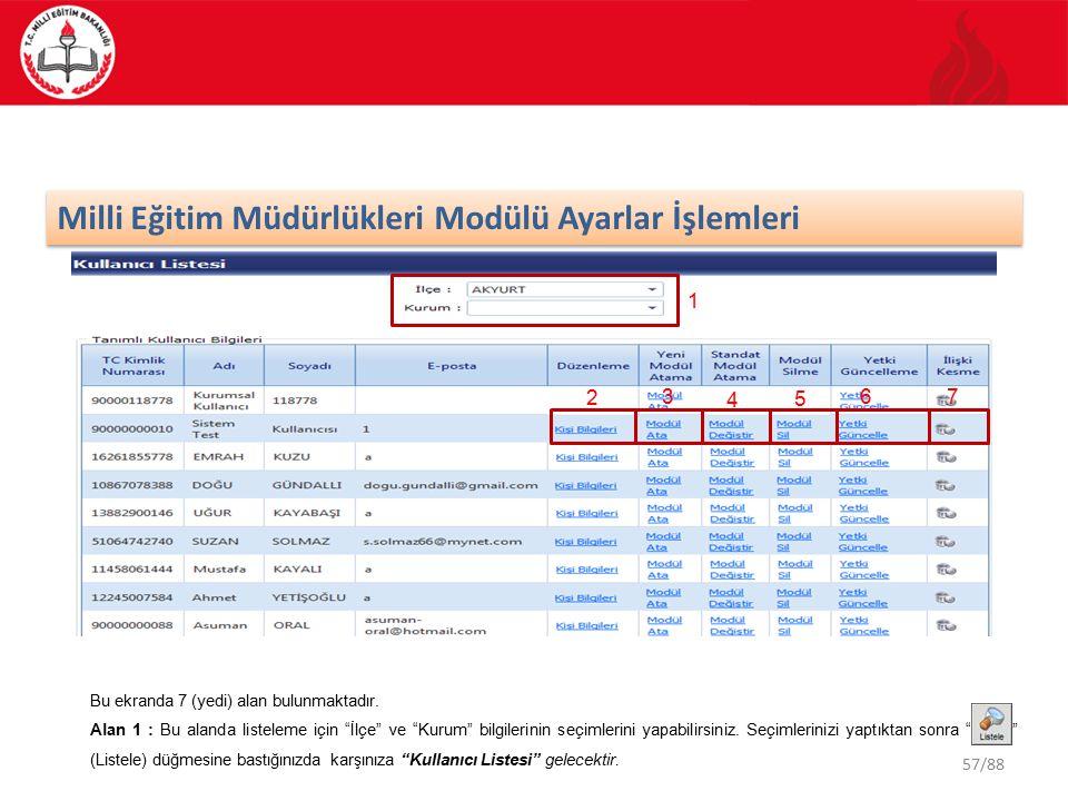 """57/88 Milli Eğitim Müdürlükleri Modülü Ayarlar İşlemleri 2 1 3 4 5 67 Bu ekranda 7 (yedi) alan bulunmaktadır. Alan 1 : Bu alanda listeleme için """"İlçe"""""""