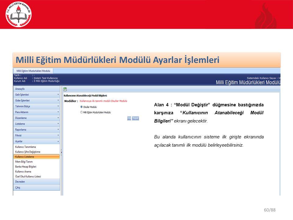 60/88 Milli Eğitim Müdürlükleri Modülü Ayarlar İşlemleri Alan 4 : Modül Değiştir düğmesine bastığınızda karşınıza Kullanıcının Atanabileceği Modül Bilgileri ekranı gelecektir.