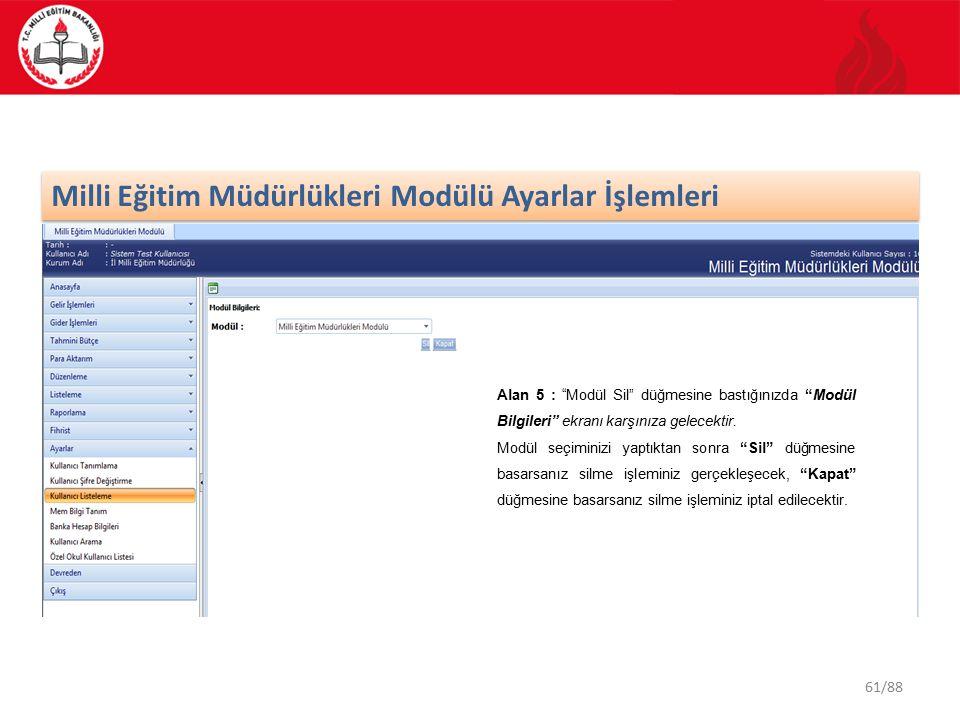 61/88 Milli Eğitim Müdürlükleri Modülü Ayarlar İşlemleri Alan 5 : Modül Sil düğmesine bastığınızda Modül Bilgileri ekranı karşınıza gelecektir.