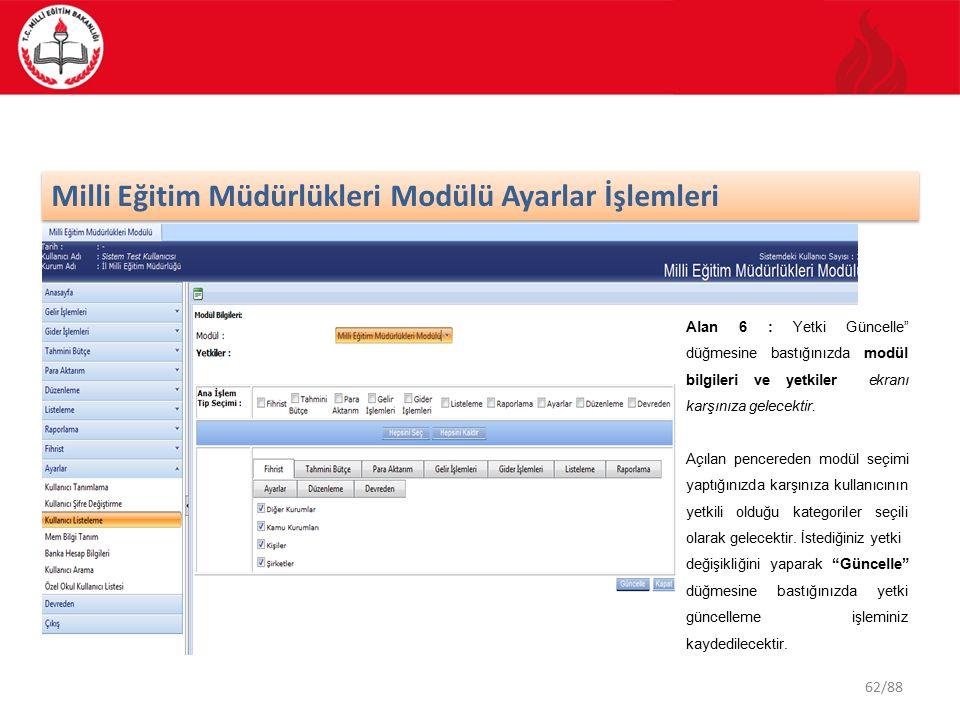 62/88 Milli Eğitim Müdürlükleri Modülü Ayarlar İşlemleri Alan 6 : Yetki Güncelle düğmesine bastığınızda modül bilgileri ve yetkiler ekranı karşınıza gelecektir.
