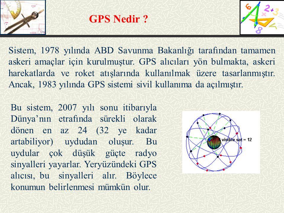 GPS Nedir ? Sistem, 1978 yılında ABD Savunma Bakanlığı tarafından tamamen askeri amaçlar için kurulmuştur. GPS alıcıları yön bulmakta, askeri harekatl