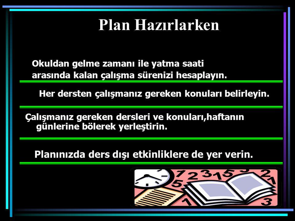 PLAN : neyi , ne zaman , nasıl , nerede ve ne kadar çalışacağınızı önceden belirlemek demektir.
