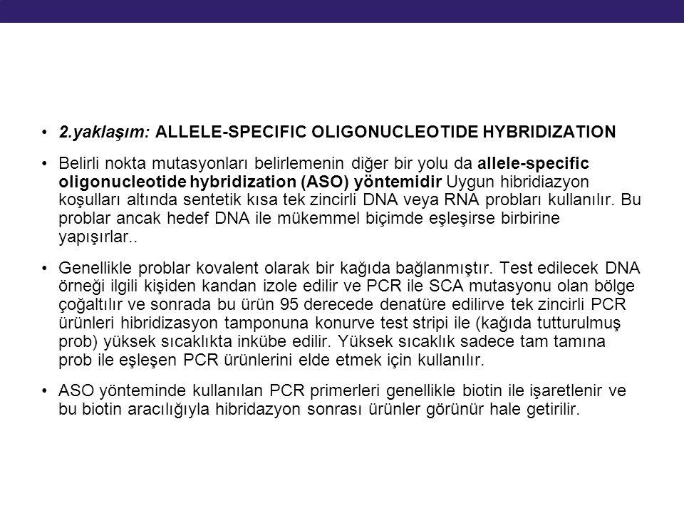 2.yaklaşım: ALLELE-SPECIFIC OLIGONUCLEOTIDE HYBRIDIZATION Belirli nokta mutasyonları belirlemenin diğer bir yolu da allele-specific oligonucleotide hy