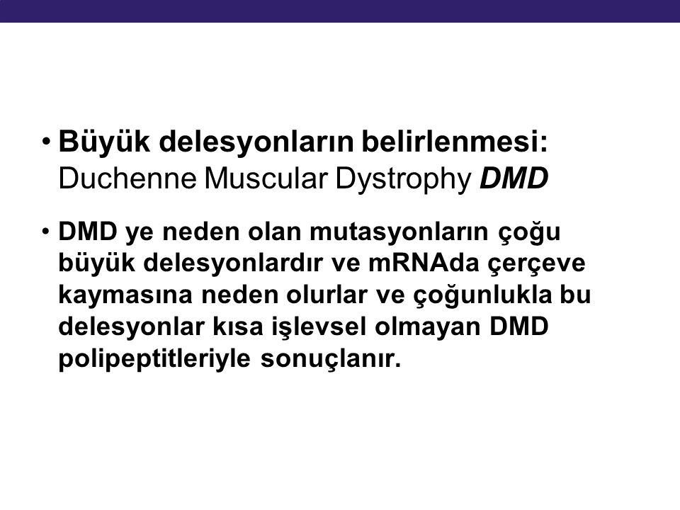 Büyük delesyonların belirlenmesi: Duchenne Muscular Dystrophy DMD DMD ye neden olan mutasyonların çoğu büyük delesyonlardır ve mRNAda çerçeve kaymasın