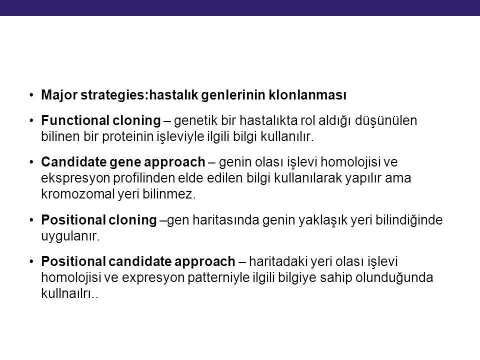 Major strategies:hastalık genlerinin klonlanması Functional cloning – genetik bir hastalıkta rol aldığı düşünülen bilinen bir proteinin işleviyle ilgi