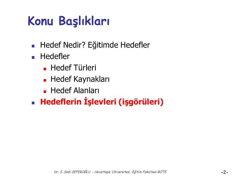 Eğitimde Hedefler Hedeflerin İşlevleri ve Analizi Dr. Süleyman Sadi SEFEROĞLU Hacettepe Üniversitesi, Eğitim Fakültesi Bilgisayar ve Öğretim Teknoloji