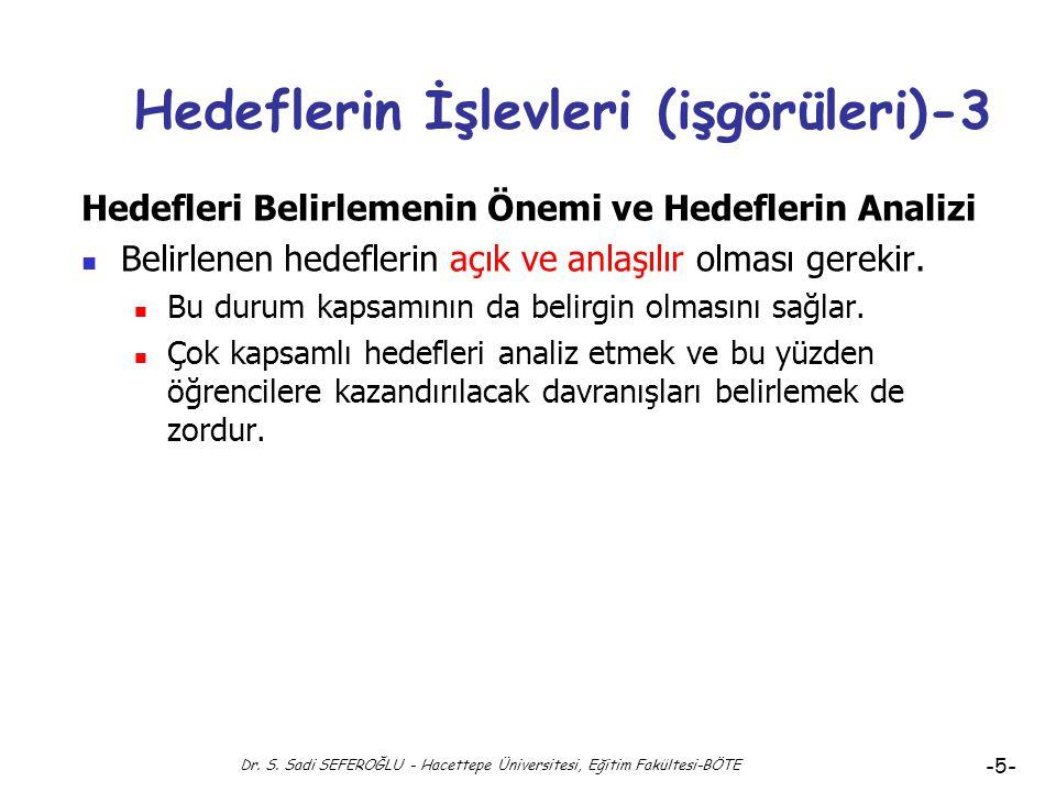 Dr. S. Sadi SEFEROĞLU - Hacettepe Üniversitesi, Eğitim Fakültesi-BÖTE -4- Hedeflerin İşlevleri (işgörüleri)-2 Hedefleri Belirlemenin Önemi ve Hedefler