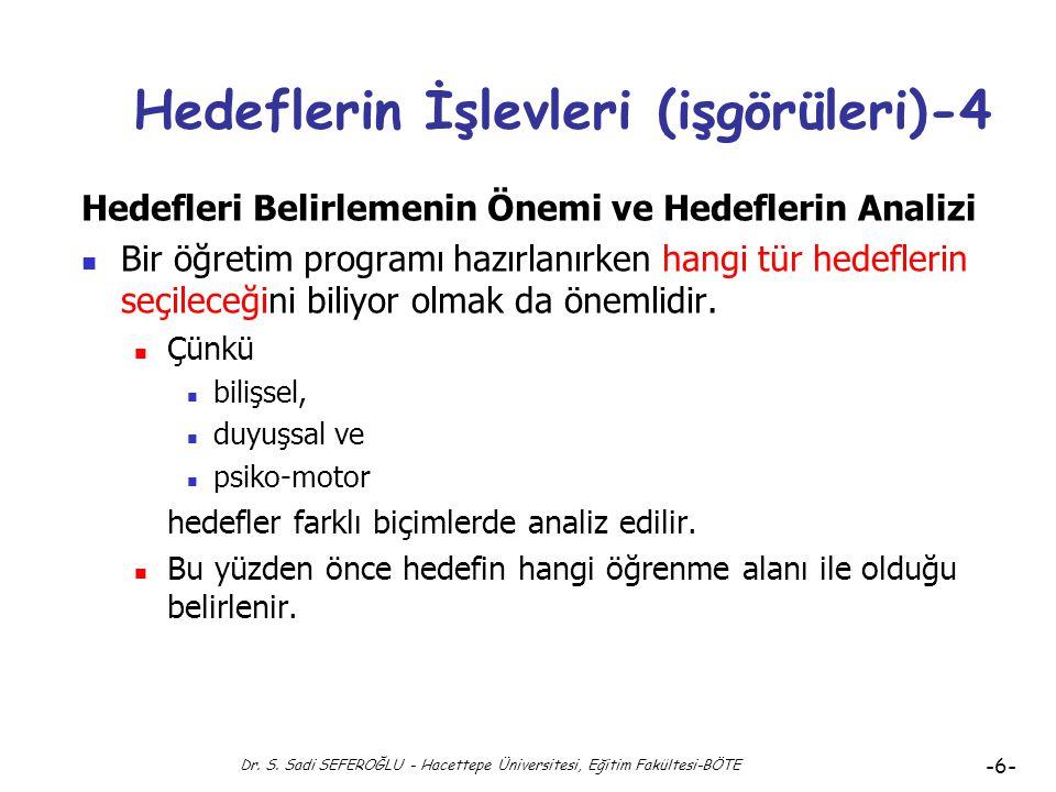 Dr. S. Sadi SEFEROĞLU - Hacettepe Üniversitesi, Eğitim Fakültesi-BÖTE -5- Hedeflerin İşlevleri (işgörüleri)-3 Hedefleri Belirlemenin Önemi ve Hedefler