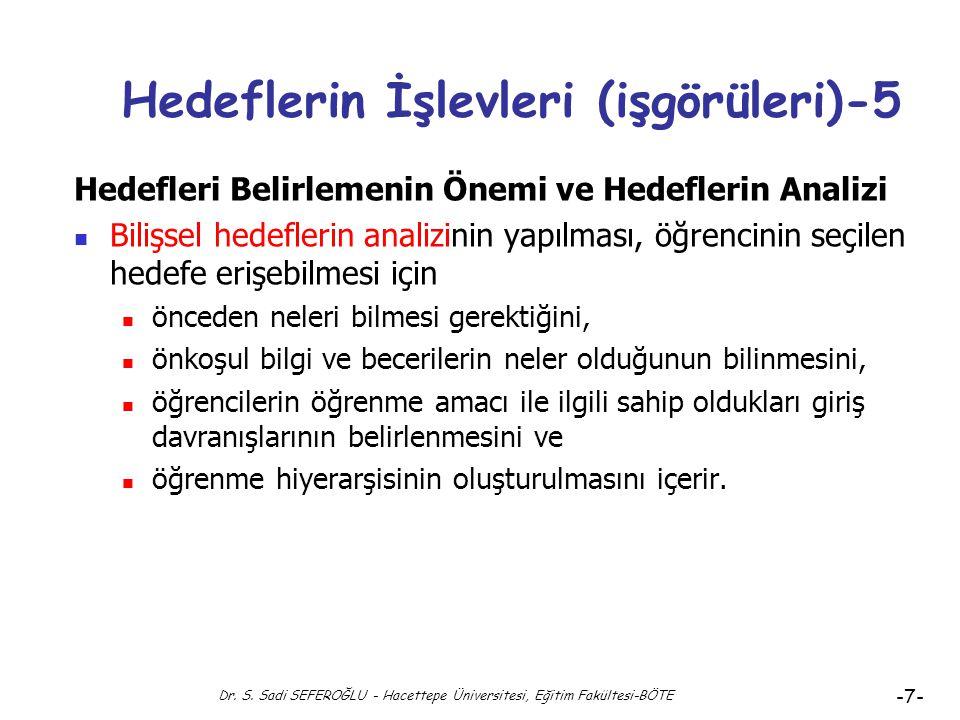 Dr. S. Sadi SEFEROĞLU - Hacettepe Üniversitesi, Eğitim Fakültesi-BÖTE -6- Hedeflerin İşlevleri (işgörüleri)-4 Hedefleri Belirlemenin Önemi ve Hedefler