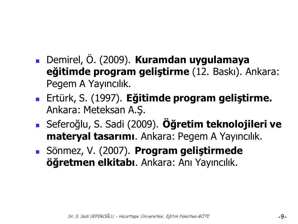Dr. S. Sadi SEFEROĞLU - Hacettepe Üniversitesi, Eğitim Fakültesi-BÖTE -8- Hedeflerin İşlevleri (işgörüleri)-6 Hedefleri Belirlemenin Önemi ve Hedefler