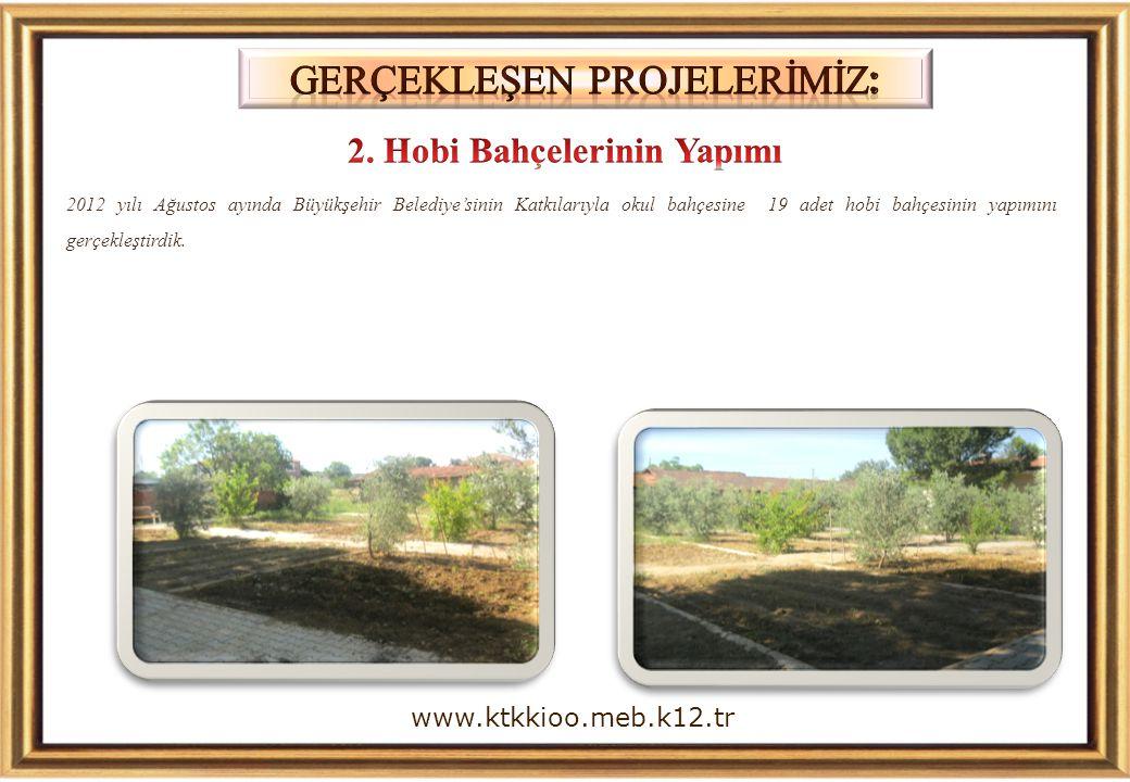 2012 yılı Ağustos ayında Büyükşehir Belediye'sinin Katkılarıyla okul bahçesine 19 adet hobi bahçesinin yapımını gerçekleştirdik. www.ktkkioo.meb.k12.t