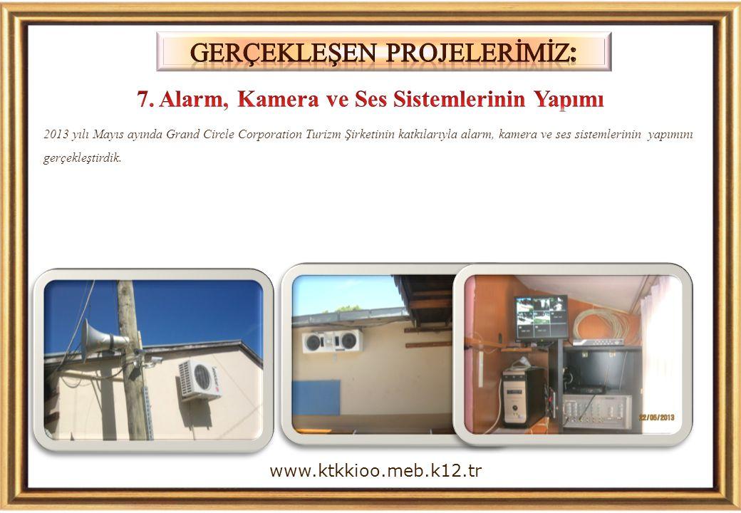 2013 yılı Mayıs ayında Grand Circle Corporation Turizm Şirketinin katkılarıyla alarm, kamera ve ses sistemlerinin yapımını gerçekleştirdik. www.ktkkio