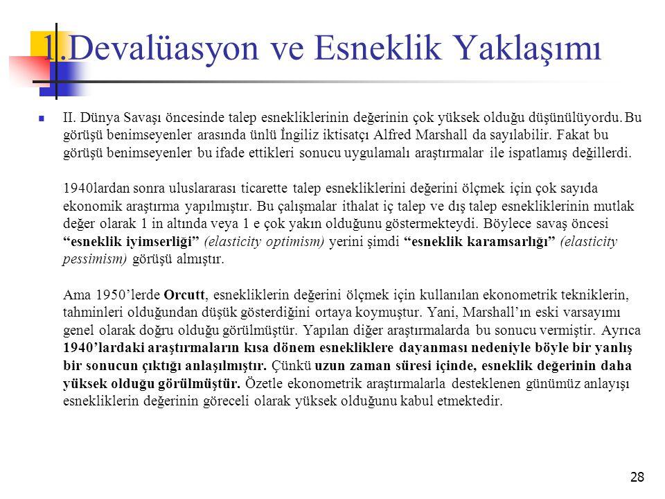 1.Devalüasyon ve Esneklik Yaklaşımı II.