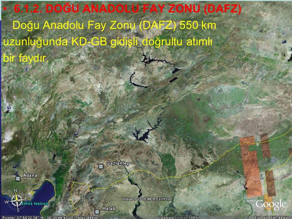 NEOTEKTONİK Doç.Dr. Yaşar EREN 6.1.2. DOĞU ANADOLU FAY ZONU (DAFZ) Doğu Anadolu Fay Zonu (DAFZ) 550 km uzunluğunda KD-GB gidişli doğrultu atımlı bir f